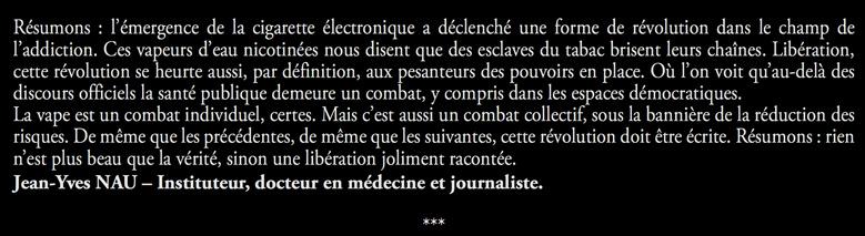 Préface 1000 messages pour la vape par Jean-Yves Nau